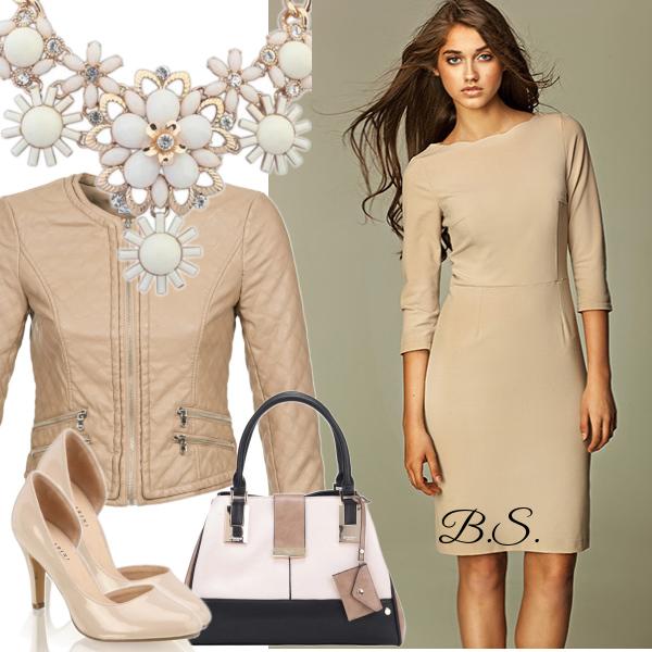 Béžové pouzdrové šaty Nife Nicole
