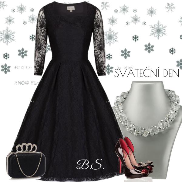 Černé šat s dlouhým rukávem Lindy Bop Lisette