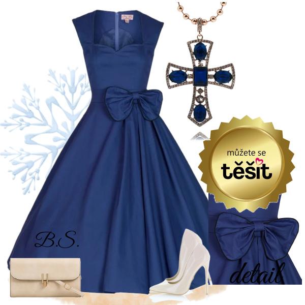 Modré retro šaty s mašlí Lindy Bop Grace