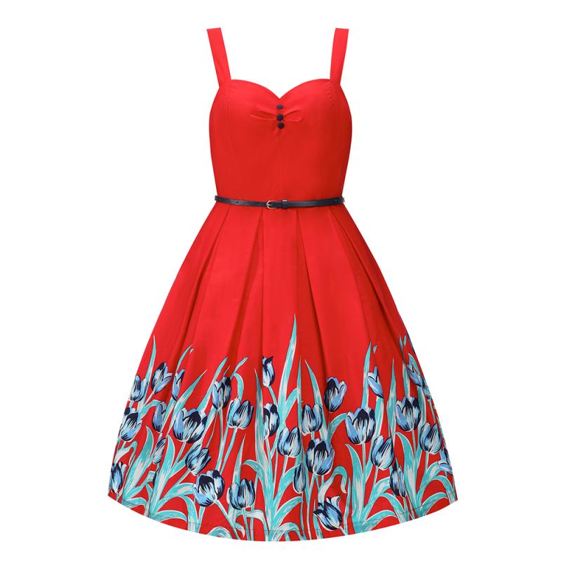 Červené šaty s tulipány Lindy Bop Bernice