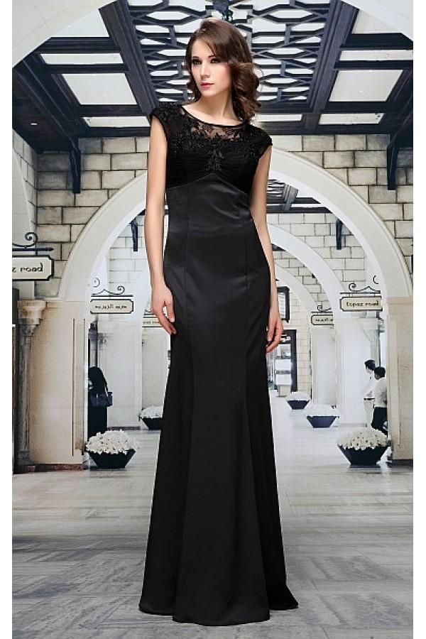 -15% Černé saténové společenské šaty Maren 116bf166a6