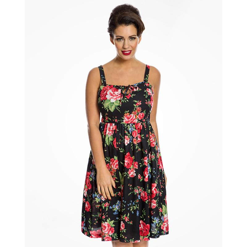 Černé letní šaty s květinovým vzorem Lindy Bop Leesa Lindy Bop ... 0ef1c01a6e