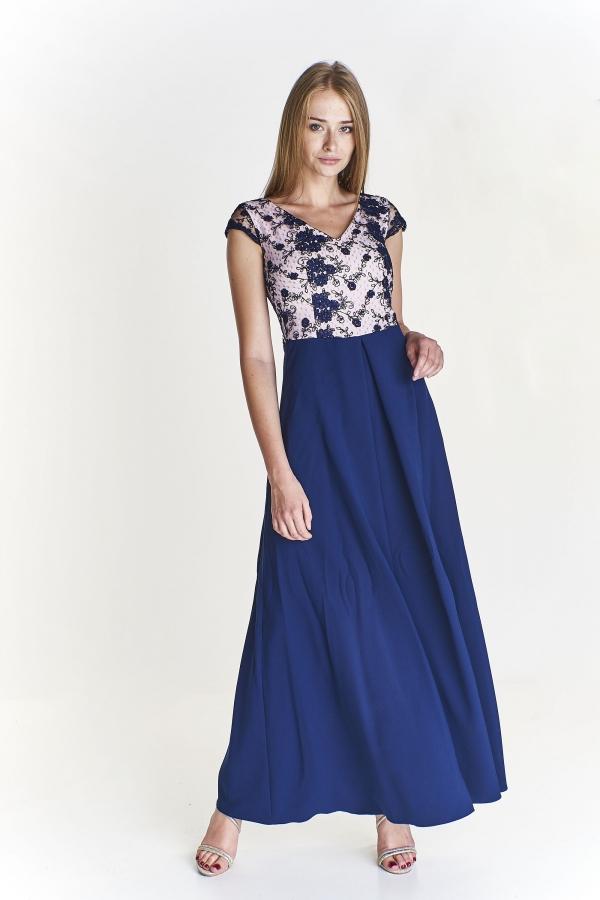 47219292b Společenské modro růžové šaty s krajkou Vegas Corina Vegas | Blanka ...