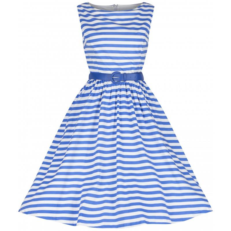 Námořnické pruhované šaty Lindy Bop Audrey modrobílé Lindy Bop ... 9769061107