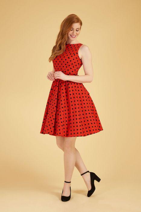 b88cbcb82309 Červené šaty s černými puntíky Lady V London Tea Lady V London ...