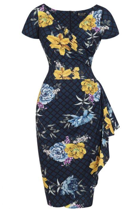 Modré šaty s květy Lady V London Elsie Lady V London  4073f40ca2d