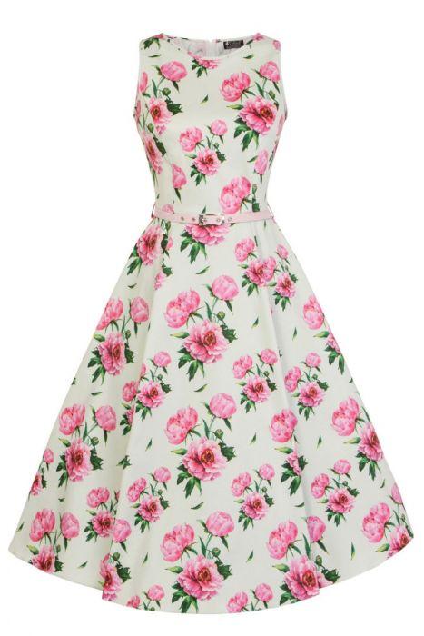 Světle zelené šaty s růžovými pivoňkami Lady V London Audrey Lady V ... a32092081c