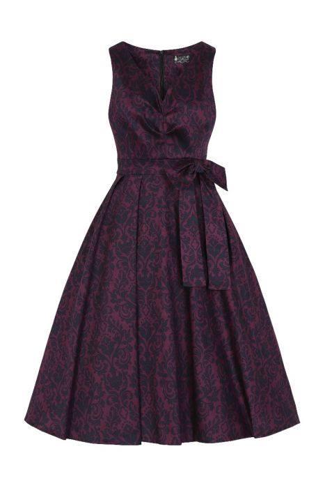 Tmavě fialové šaty s damaškovým vzorem Lady V London Dorothy Lady V ... 22ba6f9ef9f