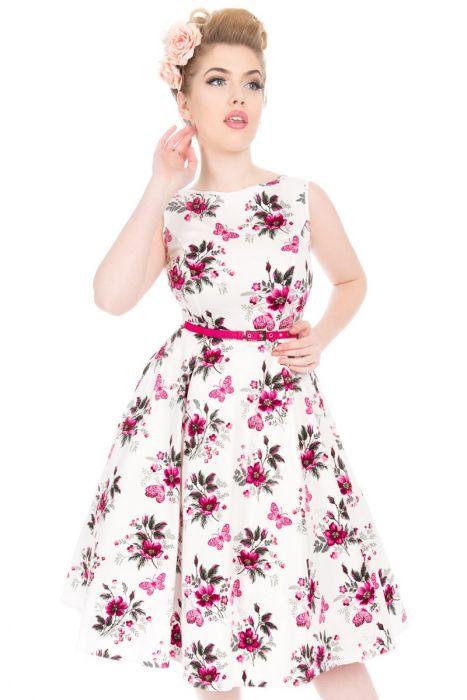 Bílé šaty s růžový květy Lady V London Audrey Lady V London  9b5a6e85f1