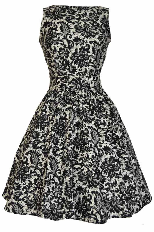 Společenské retro šaty s imitací krajky Lady V London Tea Lady V ... 2102ba03bb