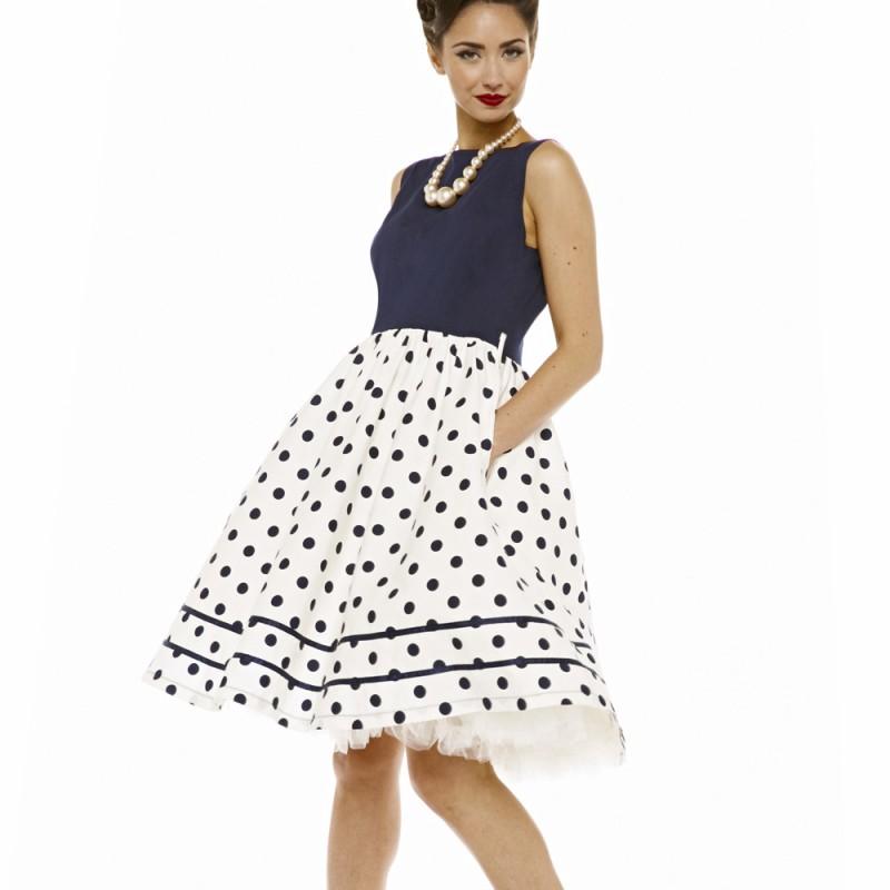 90053b6f0e96 Lindy Bop Audrey modrobílé šaty s puntíkatou sukní Lindy Bop ...