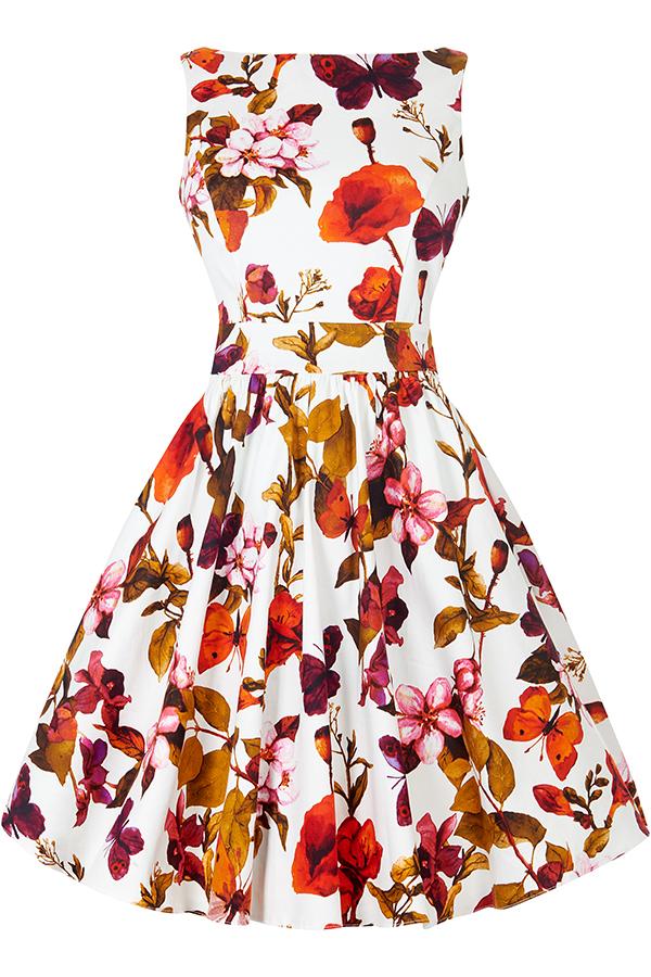 Bílé retro šaty s barevnými květy Lady V London Tea Lady V London ... 862139c9141