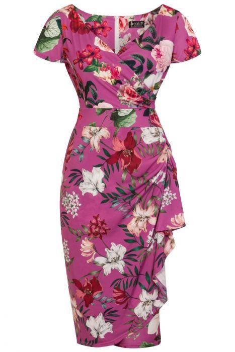 Růžové šaty s květy Lady V London Elsie Lady V London  787af0546f
