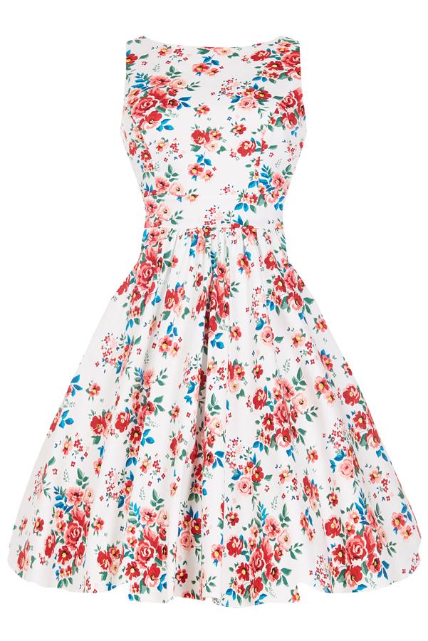 Bílé květované retro šaty Lady V London Tea Lady V London  9f208be73b
