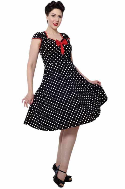 Černé šaty s bílými puntíky Lady V London Isabella Lady V London ... c0d95df28a