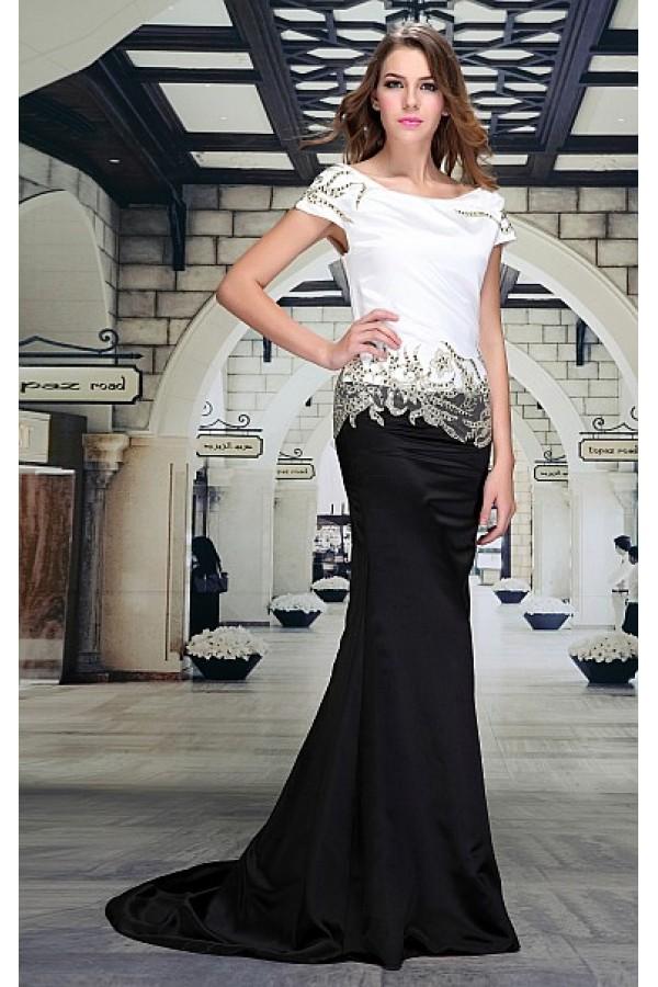 8346ef339d9 Dlouhé plesové černobílé šaty Laura