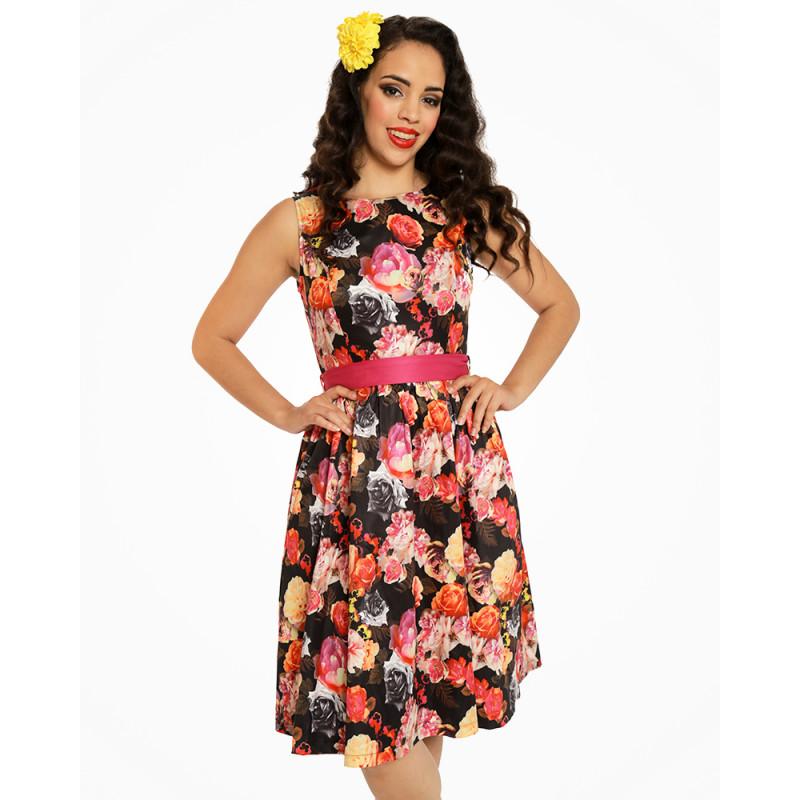 Barevné šaty s květy Lindy Bop Audrey Lindy Bop  e0e663da39