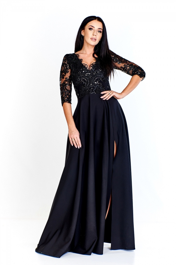 Černé dlouhé šaty s vyšívaným živůtkem Bosca Fashion Adenike Bosca ... d708e35b46