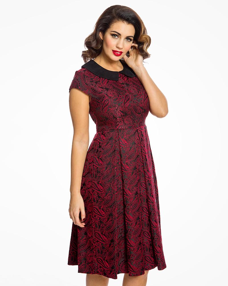 fa92be828a6 Černo červené šaty se vzorem Lindy Bop Isadora Lindy Bop