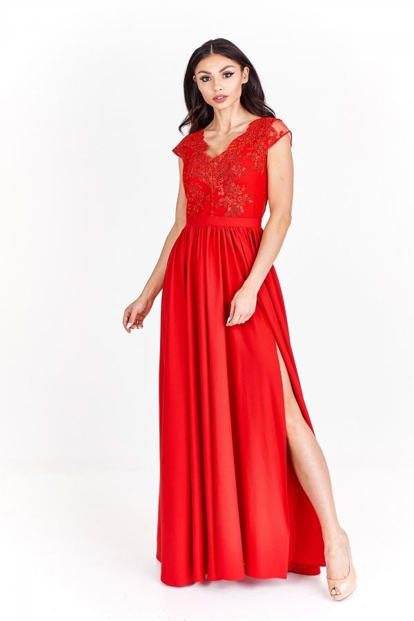 Červené společenské šaty s rozparkem Bosca Fashion Amma Bosca ... e2d6e495e5