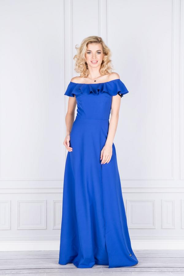 Dlouhé modré šaty s volánem Kora Katniss  d812fa0c33