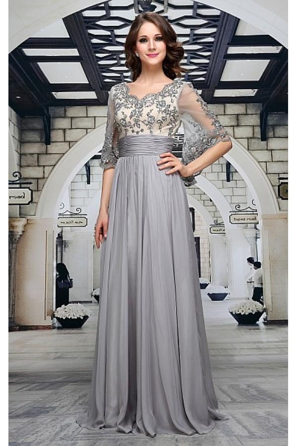 2404dec8cea Luxusní společenské šaty v šedé barvě Decima