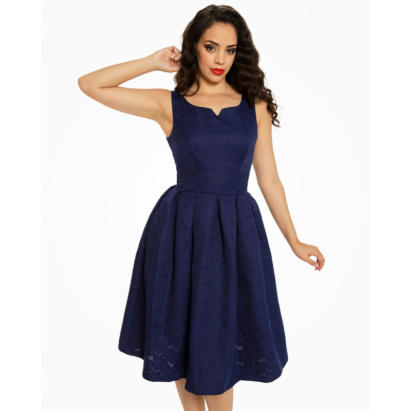 Modré brokátové šaty Lindy Bop Felicia Lindy Bop  2656762e277