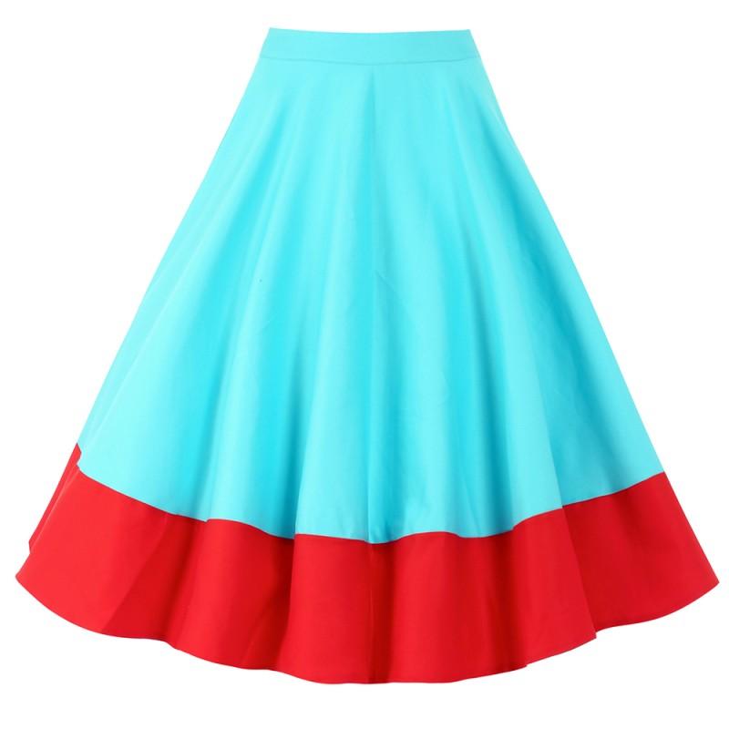 8748759324f Kolová modrá sukně s červeným lemem Lindy Bop Ohlson Lindy Bop Retro ...