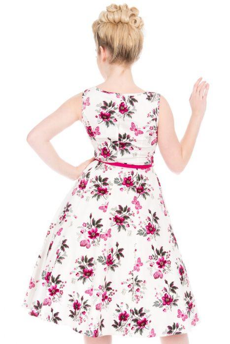 Bílé šaty s růžový květy Lady V London Audrey Lady V London  7f1a1490b7