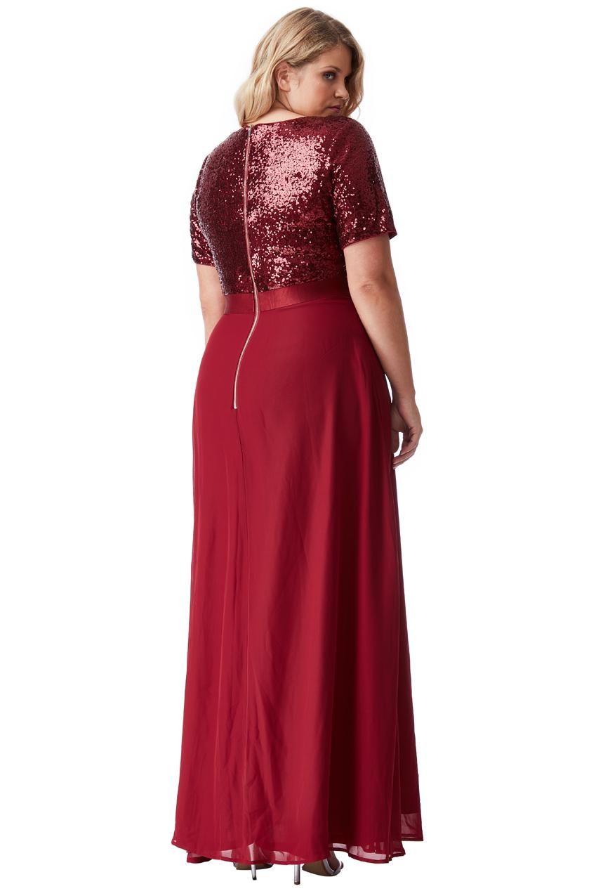 Bordó dlouhé šaty s flitrovaným živůtkem City Goddess Batma City ... a683388f57
