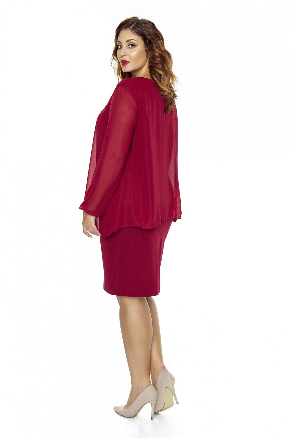 Bordó šaty s dlouhým rukávem Kartes Jackie Kartes  ac1c3feaca