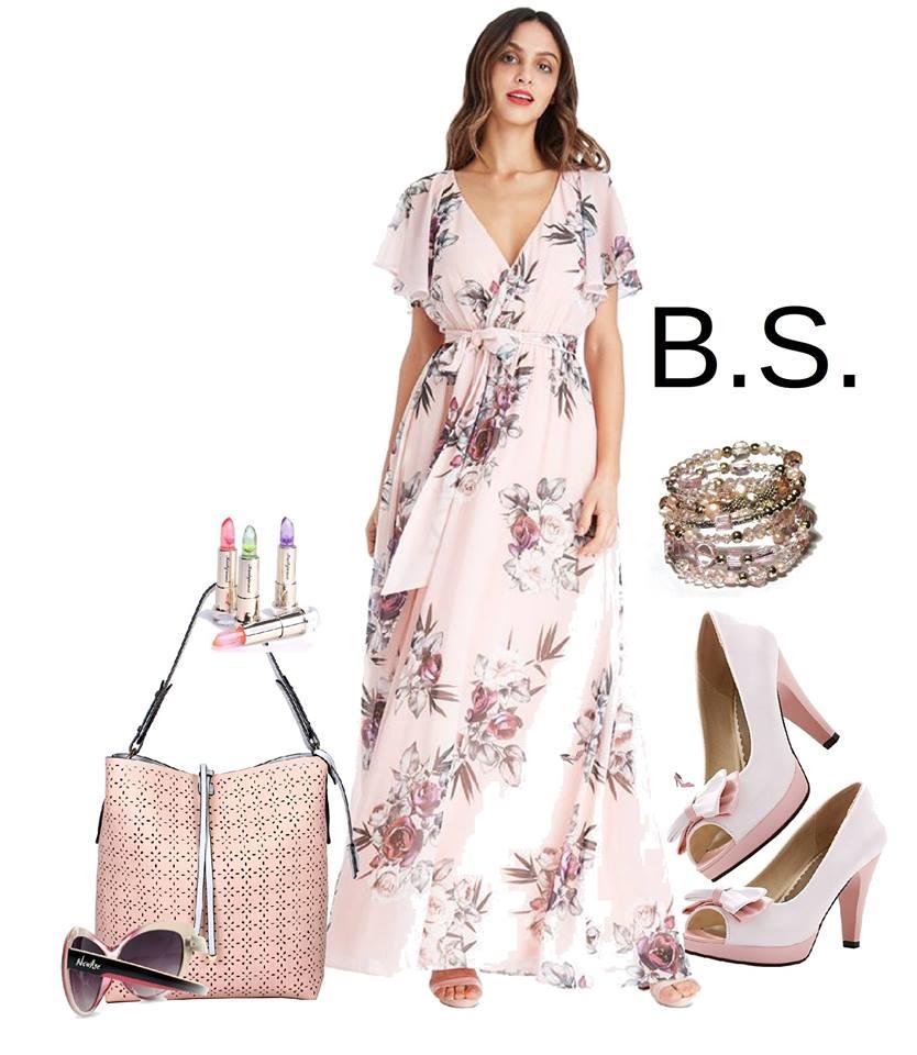 Broskvové dlouhé šaty s květy City Goddess Chirine City Goddess ... d37508ba42