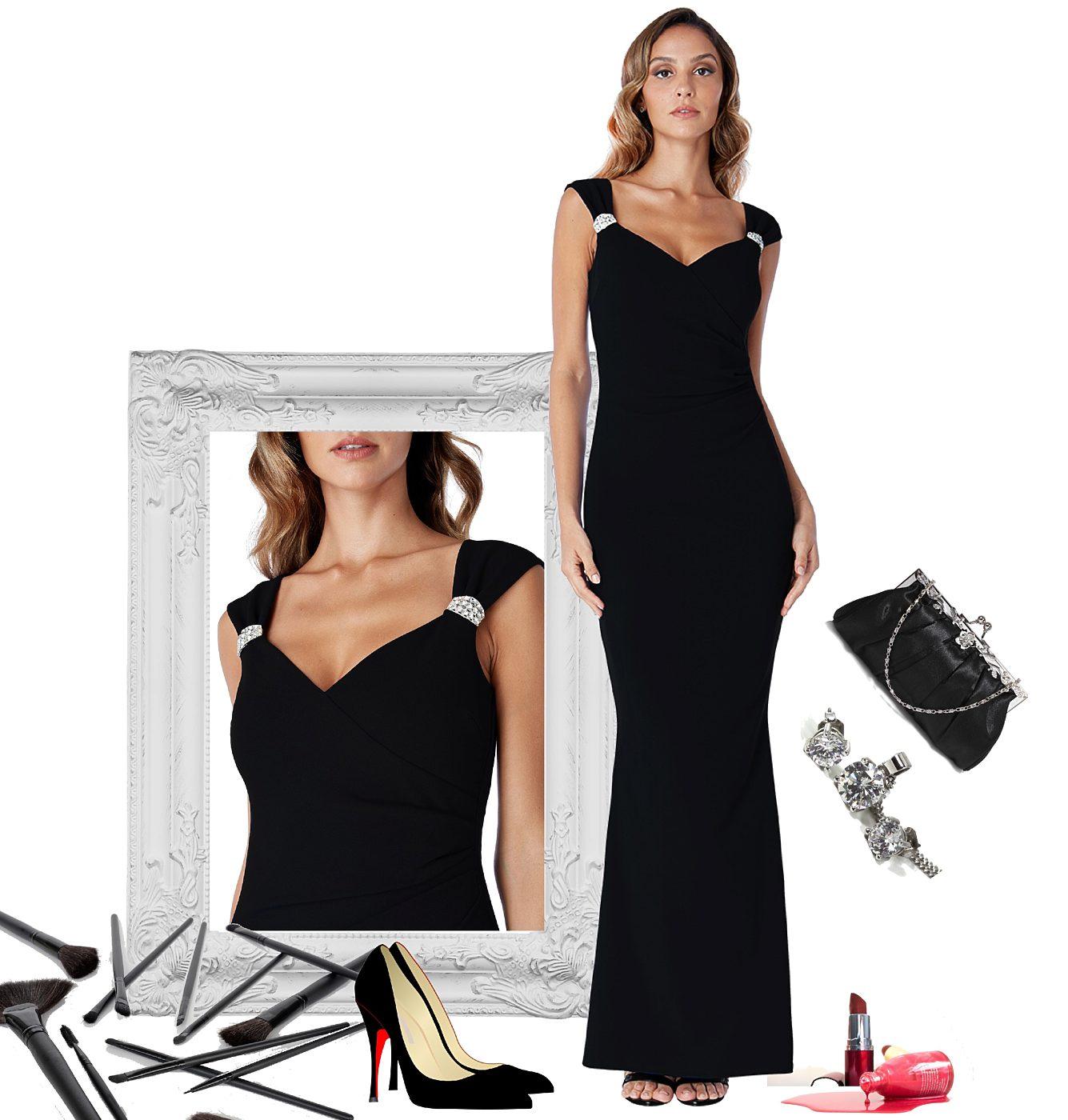680c4ab8dc0 Černé dlouhé pouzdrové šaty City Goddess Shania City Goddess ...