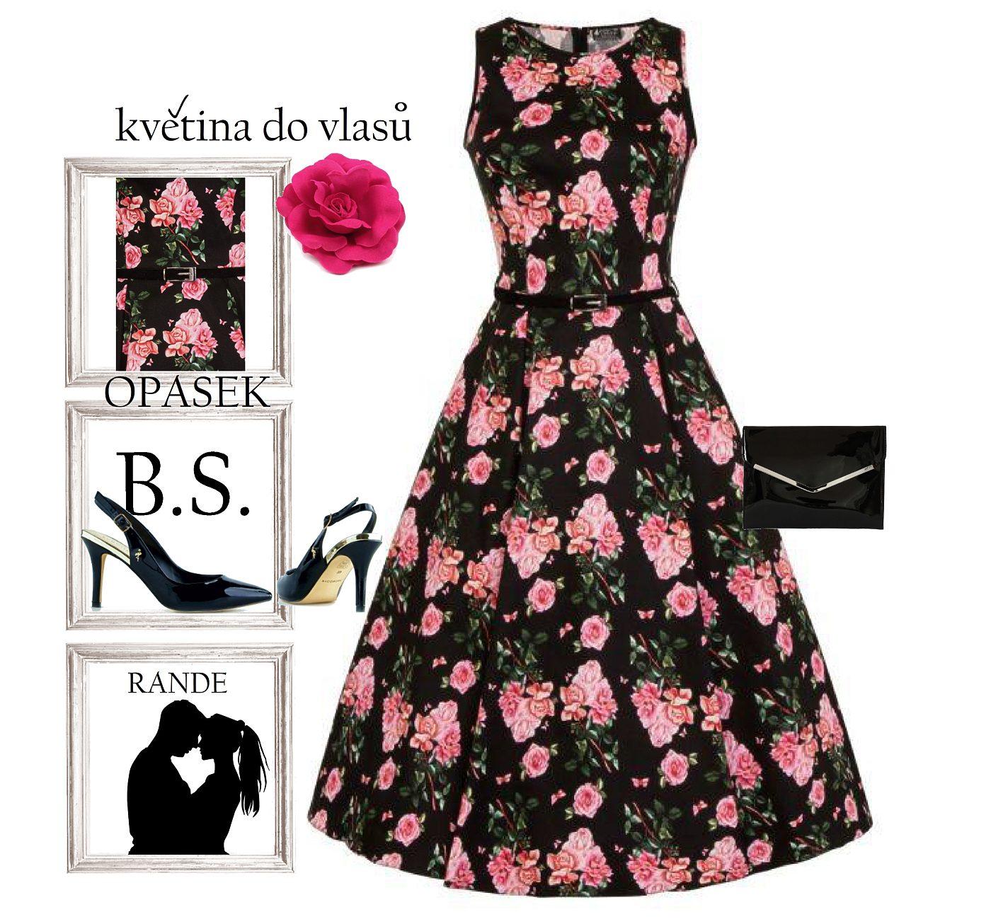 Černé šaty s růžovými květy Lady V London Audrey Lady V London ... 2d0a58d175