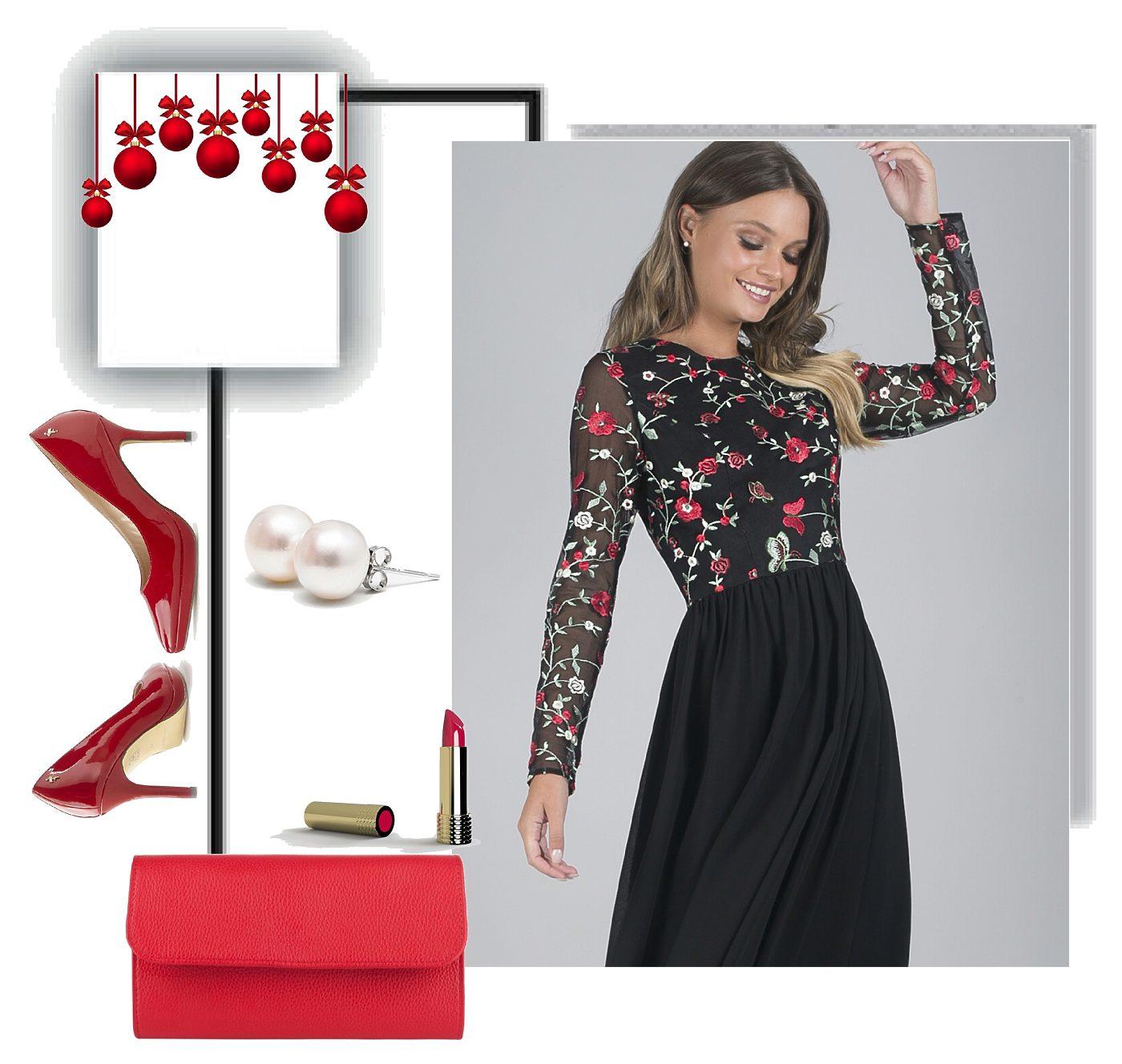 Černé společenské šaty s výšivkou Chi chi London Fatima Chi Chi ... 6c976ef6f3