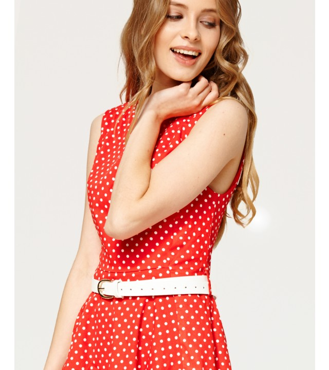 0ab4202a686 Červené šaty s bílými puntíky Misfit Marina Misfit