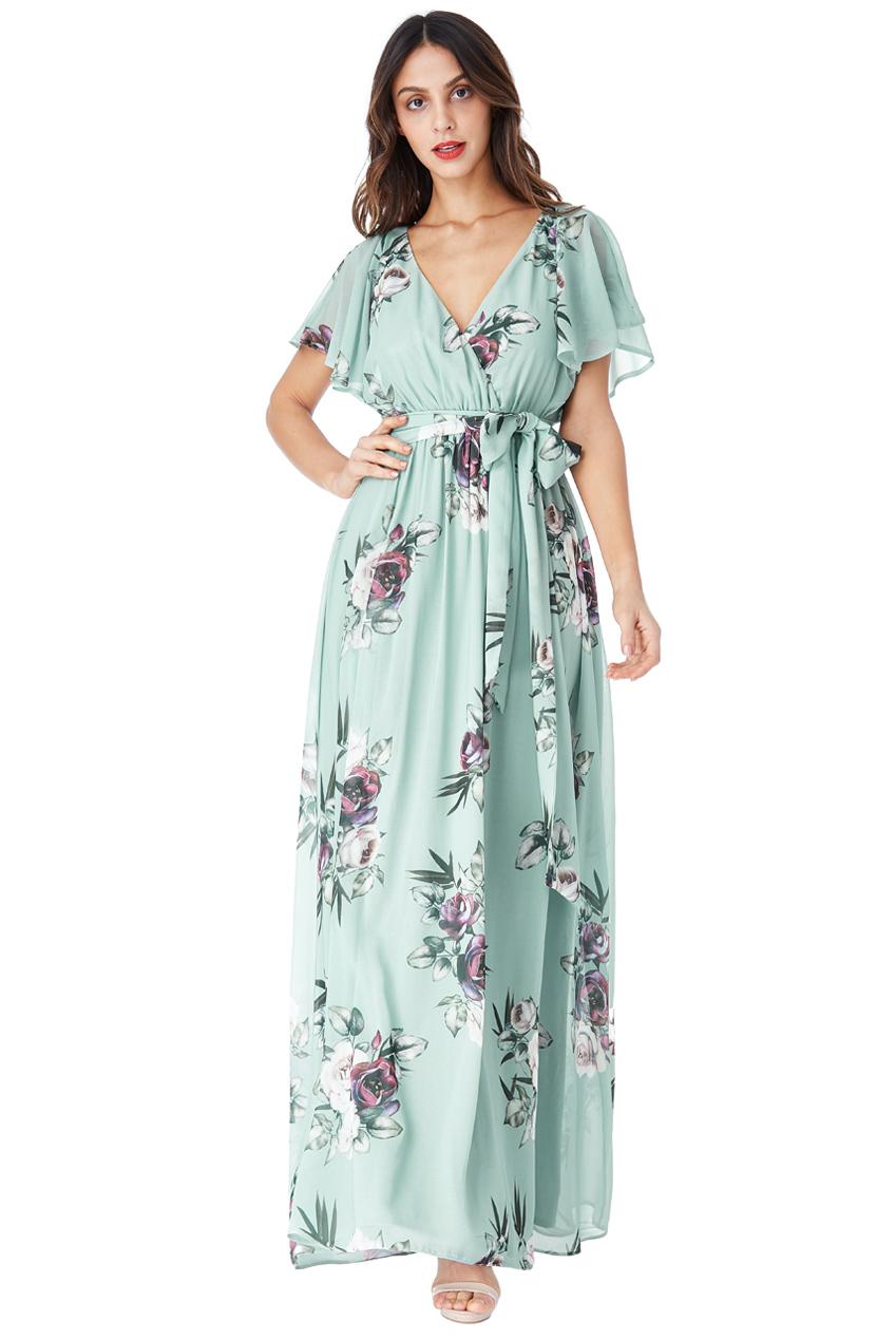 81d965c0293c Mentolové dlouhé šaty s květy City Goddess Chirine City Goddess ...