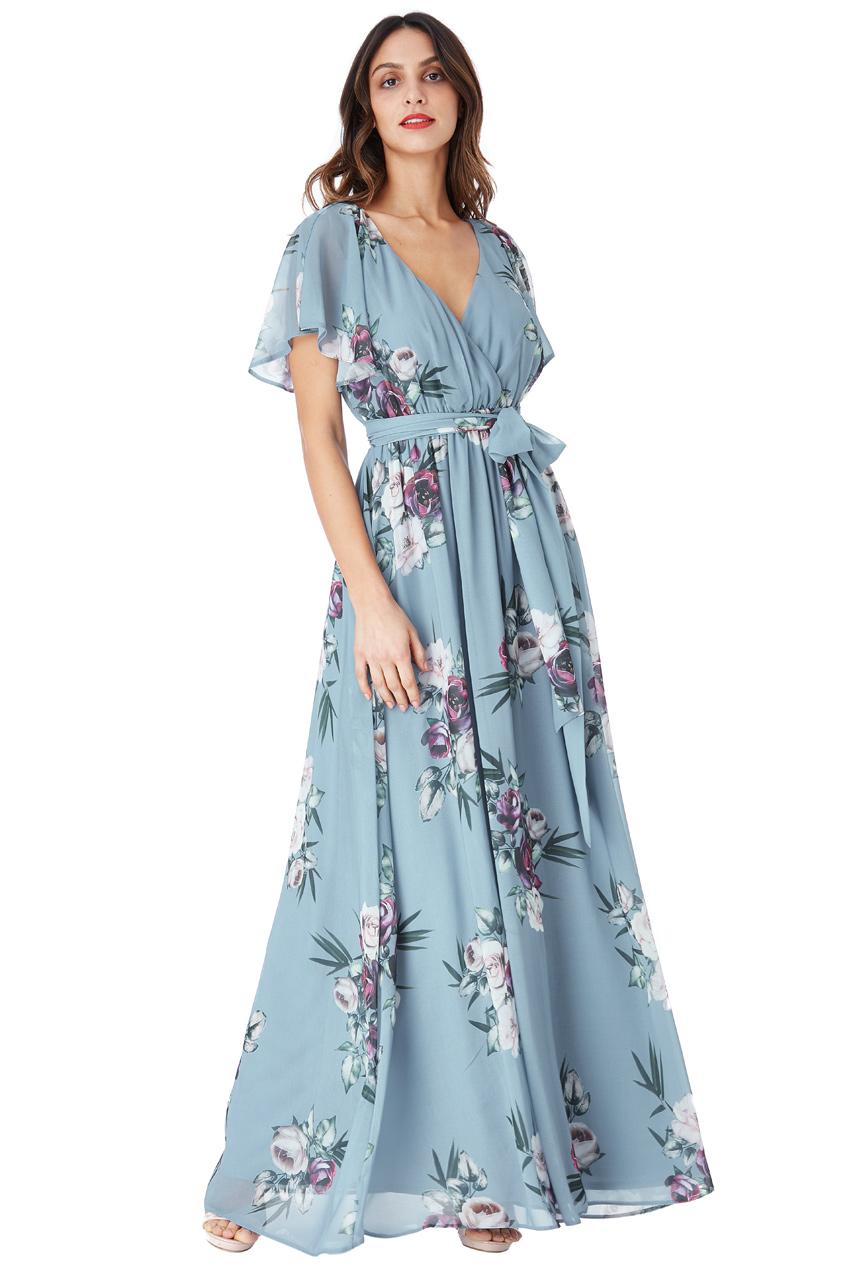 Modré dlouhé šaty s květy City Goddess Chirine City Goddess  16f433dc54
