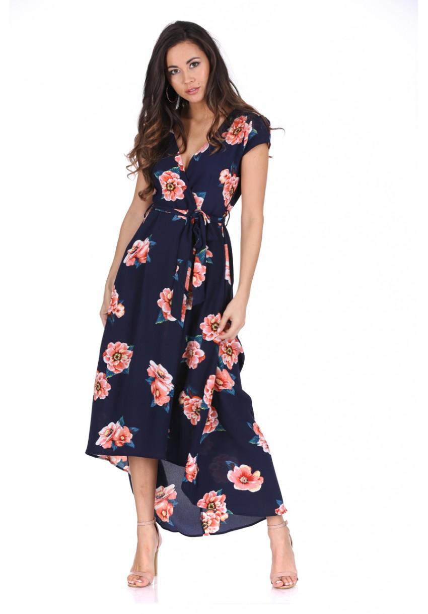 Modré dlouhé šaty s oranžovými květy Ax Paris Magda Ax Paris ... 00e048b8d5