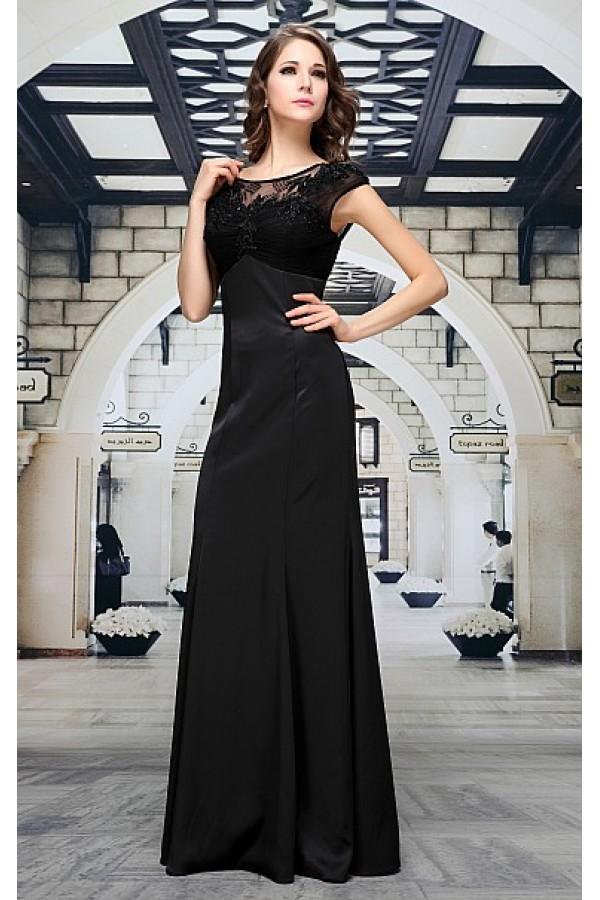 Černé saténové společenské šaty Maren  057d19d6544