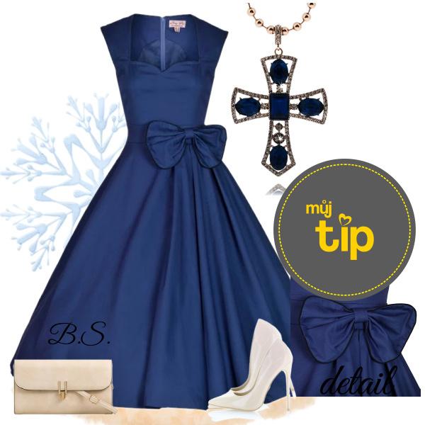 78ca1e79e6b Modré retro šaty s mašlí Lindy Bop Grace Lindy Bop