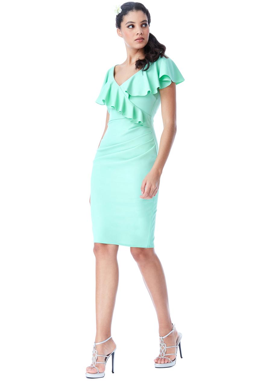 4f878fef305 Mentolové šaty s volány City Goddess Josette City Goddess