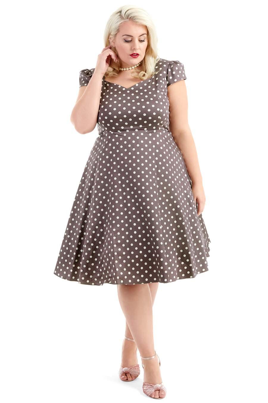 -35% Béžové šaty s puntíky Lady V London Evie c7e3f88f03