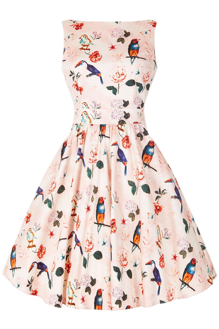 Světle růžové šaty s motivem papoušků Lady V London Tea Lady V ... 3c30ae95e3
