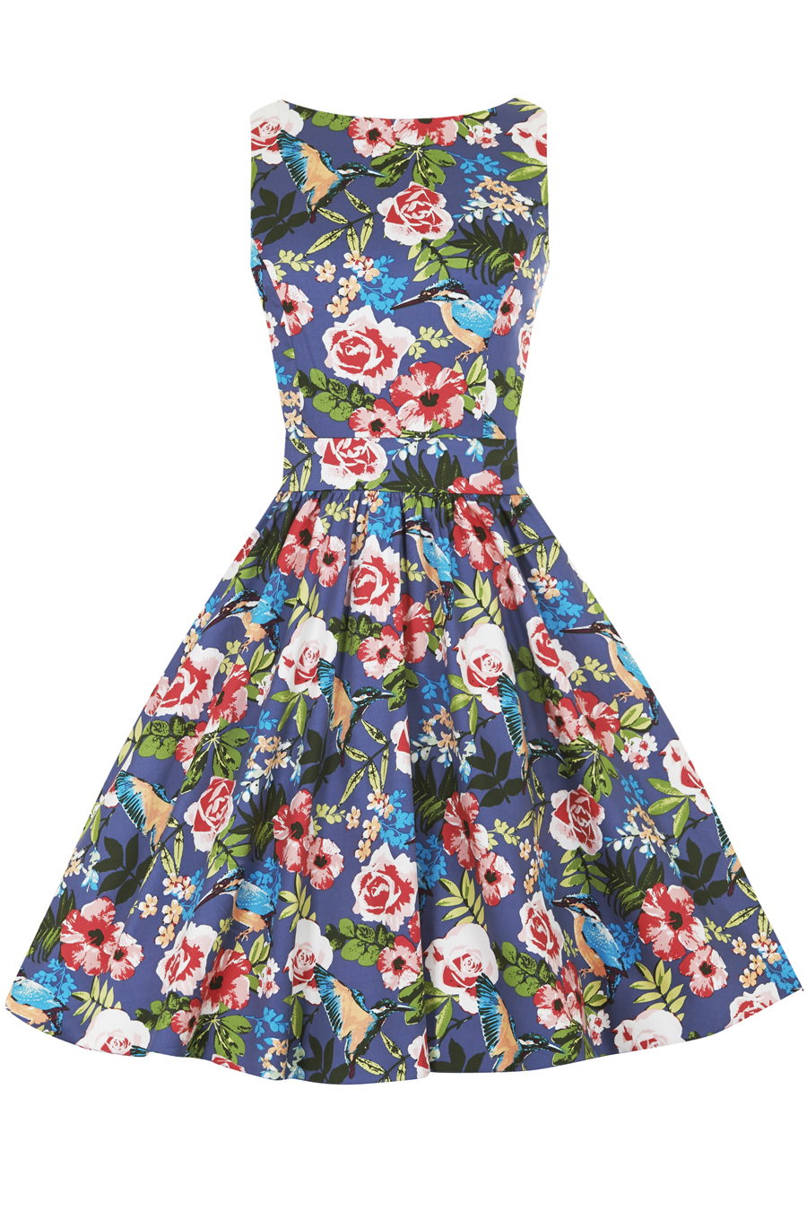 Barevné retro šaty s květy a kolibříky Lady V London Tea Lady V ... b4724ca690