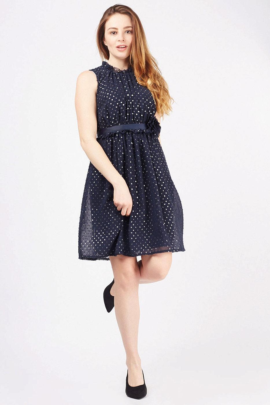 c87a67e028cb Tmavě modré šifónové šaty Dresses Terra Dresses