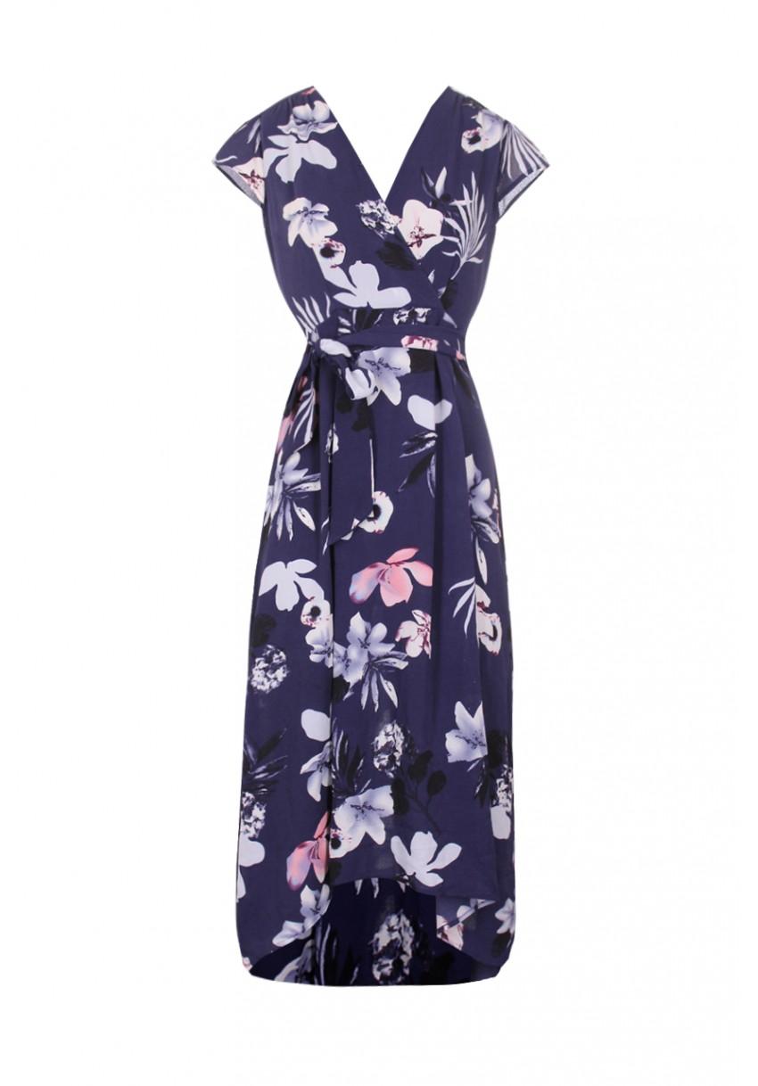 Modré dlouhé šaty s květinami Ax Paris Magda Ax Paris Šaty na ... 1bb3ef86c9