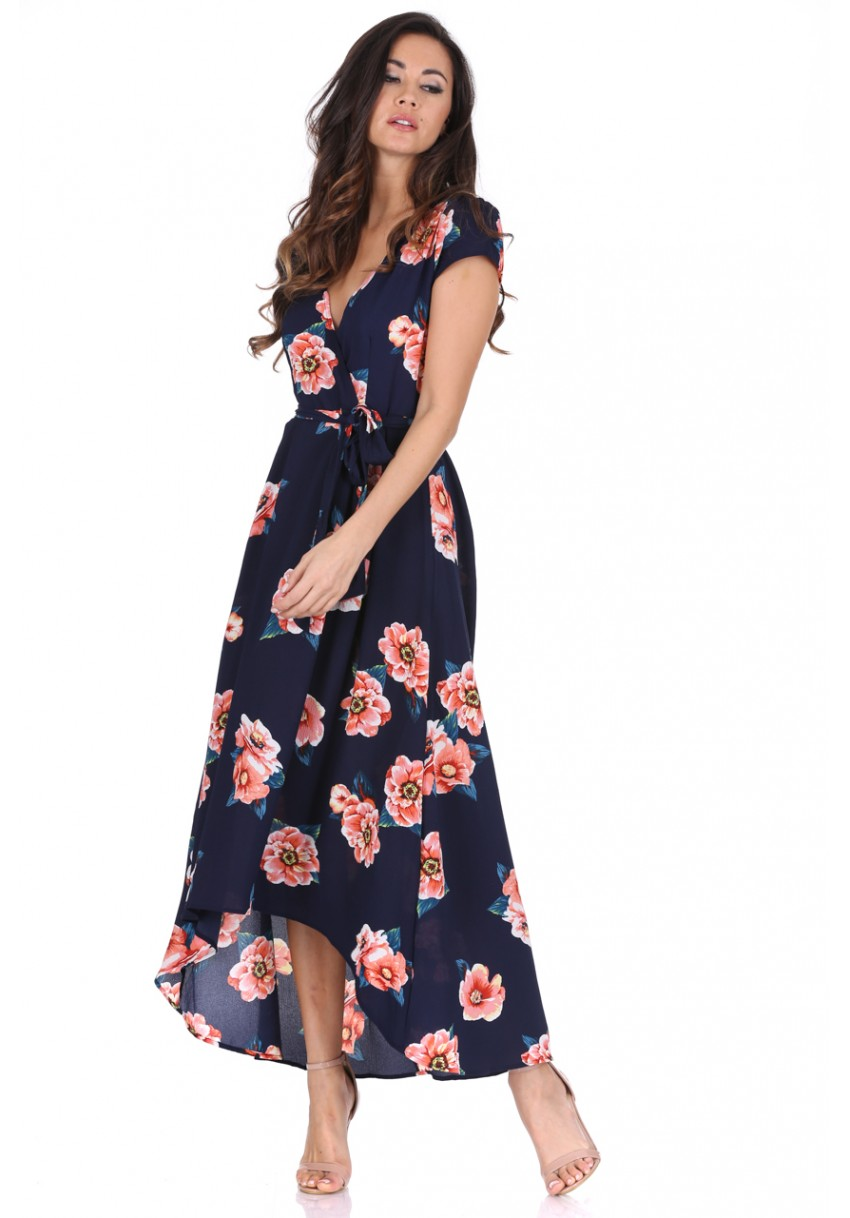 Modré dlouhé šaty s oranžovými květy Ax Paris Magda Ax Paris ... 1607dbb778