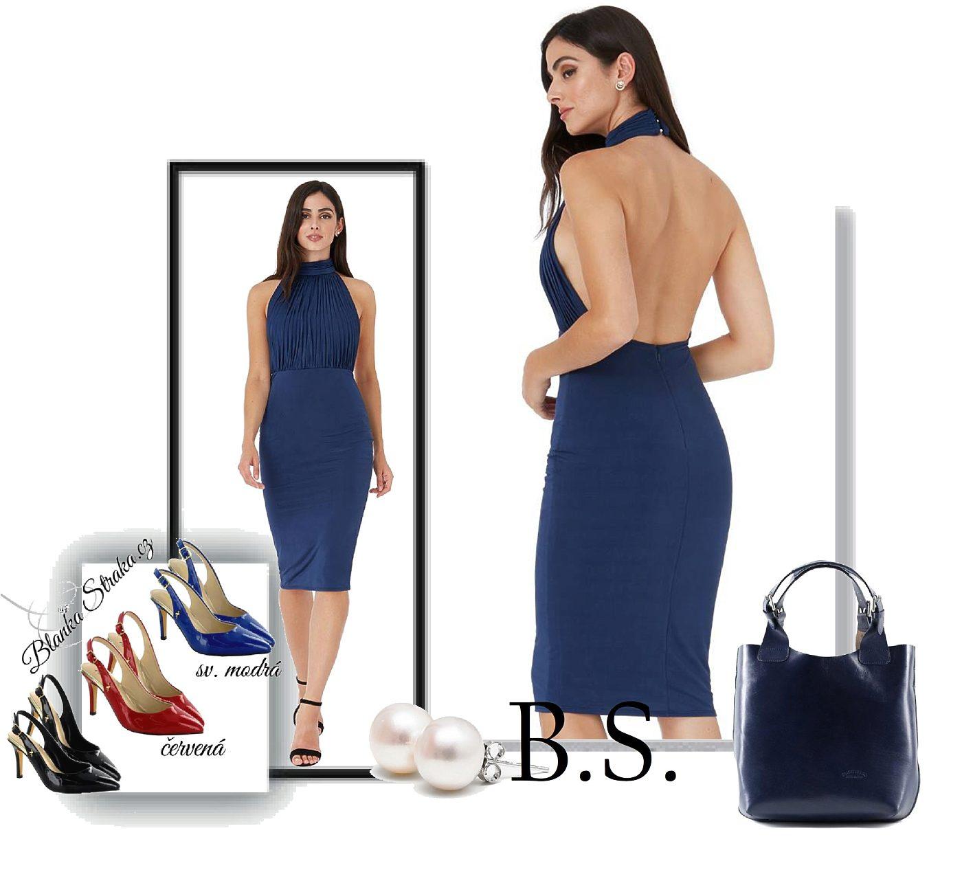 87a88cb5a87 Modré šaty s volnými zády City Goddes Rita City Goddess