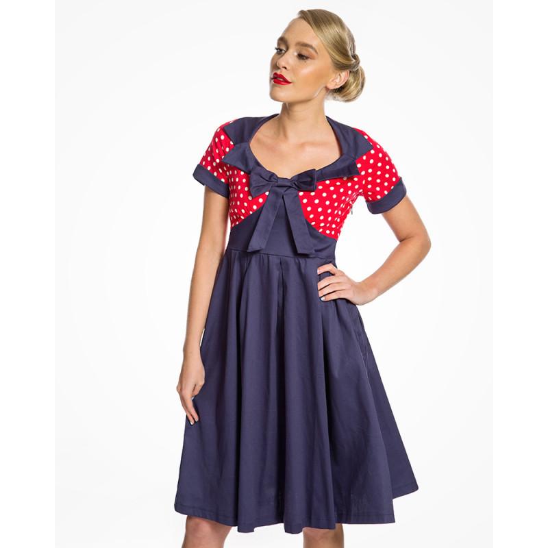 450ed82949c Modro červené šaty s puntíky Lindy Bop Delilah Lindy Bop